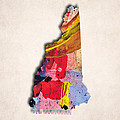 New Hampshire Map Art - Painted Map Of New Hampshire by World Art Prints And Designs