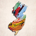 New Jersey Map Art - Painted Map Of New Jersey by World Art Prints And Designs