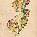 New Jersey Map Vintage Watercolor by Florian Rodarte