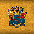 New Jersey State Flag Art on Worn Canvas by Design Turnpike