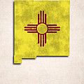New Mexico Map Art With Flag Design by World Art Prints And Designs