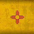 New Mexico State Flag Art on Worn Canvas by Design Turnpike