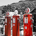 Americana Three Vintage Gas Pumps by Toula Mavridou-Messer