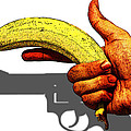 New Photographic Art Print For Sale   Hand Gun Against A White Background by Toula Mavridou-Messer