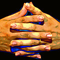 New Photographic Art Print For Sale   Hands Clasped Against A Black Background by Toula Mavridou-Messer