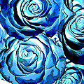 Pop Art Blue Roses by Toula Mavridou-Messer