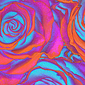 Pop Art Pink Neon Roses by Toula Mavridou-Messer