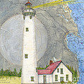 New Presque Isle Lighthouse Mi Nautical Chart Map Art by Cathy Peek