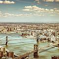 New York City - Brooklyn Bridge And Manhattan Bridge From Above by Vivienne Gucwa