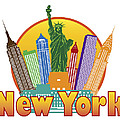 New York City Colorful Skyline In Circle Illustration by Jit Lim