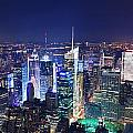 New York City Manhattan Night Panorama by Songquan Deng