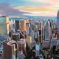 New York City - Manhattan Skyline In Warm Sunlight by M Bleichner