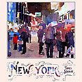 New York City Mounted Police Officers Digital Watercolor by Beverly Claire Kaiya