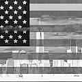New York City On American Flag Black And White by Dan Sproul