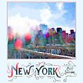 New York City Skyline Digital Watercolor by Beverly Claire Kaiya