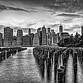 New York City Skyline Sunset Hues Bw by Susan Candelario