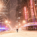 New York City - Snow And Empty Streets - Radio City Music Hall by Vivienne Gucwa