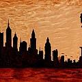 New York City Sunset Silhouette by Georgeta  Blanaru