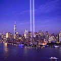 New York City Tribute In Lights World Trade Center Wtc Manhattan Nyc by Jon Holiday