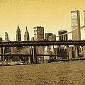 New York Downtown Manhattan Skyline - Yellow Panorama by Peter Potter