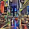 New York Lights In Rain by Florian Rodarte