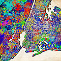 New York Map Abstract 2 by Bekim Art