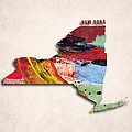 New York Map Art - Painted Map Of New York by World Art Prints And Designs