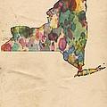 New York Map Vintage Watercolor by Florian Rodarte