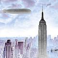 New York Skyline And Blimp by Tony Rubino