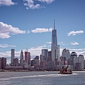 New York Skyline And Boat by Joan Carroll