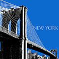 New York Skyline Brooklyn Bridge - Blue by DB Artist