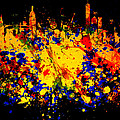 New York Skyline Paint Splash 2 by Brian Reaves