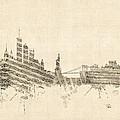 New York Skyline Sheet Music Cityscape by Michael Tompsett