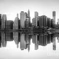New York Skyline Sunset Bw by Yhun Suarez