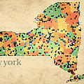 New York State Map Crystalized Counties On Worn Canvas By Design Turnpike by Design Turnpike