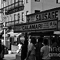 New York City Street Fair - Calamari Sausage - Black And White  by Miriam Danar