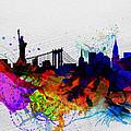 New York  Watercolor Skyline 1 by Naxart Studio