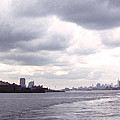 New York Harbor Panorama Twin Towers And Statue by Tom Wurl