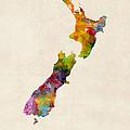 New Zealand Watercolor Map by Michael Tompsett