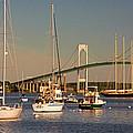 Newport Harbor With Pell Bridge by Nancy De Flon
