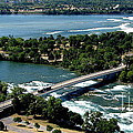Niagara River And Goat Island Aerial View by Rose Santuci-Sofranko