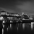 Night At Waterworks In Black And White by Bill Cannon