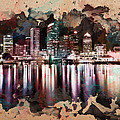Night City Reflections Watercolor Painting by Georgeta Blanaru