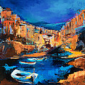 Night Colors Over Riomaggiore - Cinque Terre by Elise Palmigiani