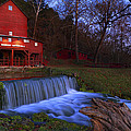 Night Falls Upon The Old Hodgson Water Mill - Missouri - Waterfall by Jason Politte