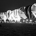 Night Glow Hot Air Balloons Bw by Thomas Woolworth