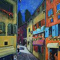 Night Street In Pula by Raija Merila