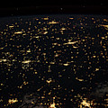 Night Time Satellite Image Of Cities by Panoramic Images