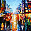 Night Umbrellas - Palette Knife Oil Painting On Canvas By Leonid Afremov by Leonid Afremov
