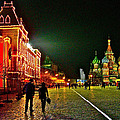 Night View Of Gum And Saint Basil Cathedral In Red Square In Moscow-russia by Ruth Hager